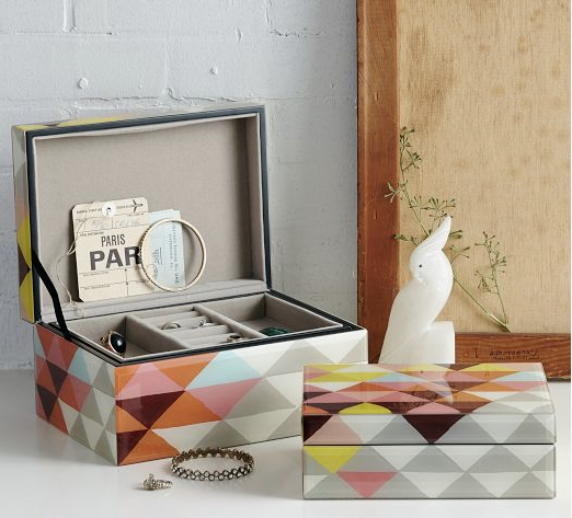 west elm jewelry box, jewelry box, geometric box, geometric pattern