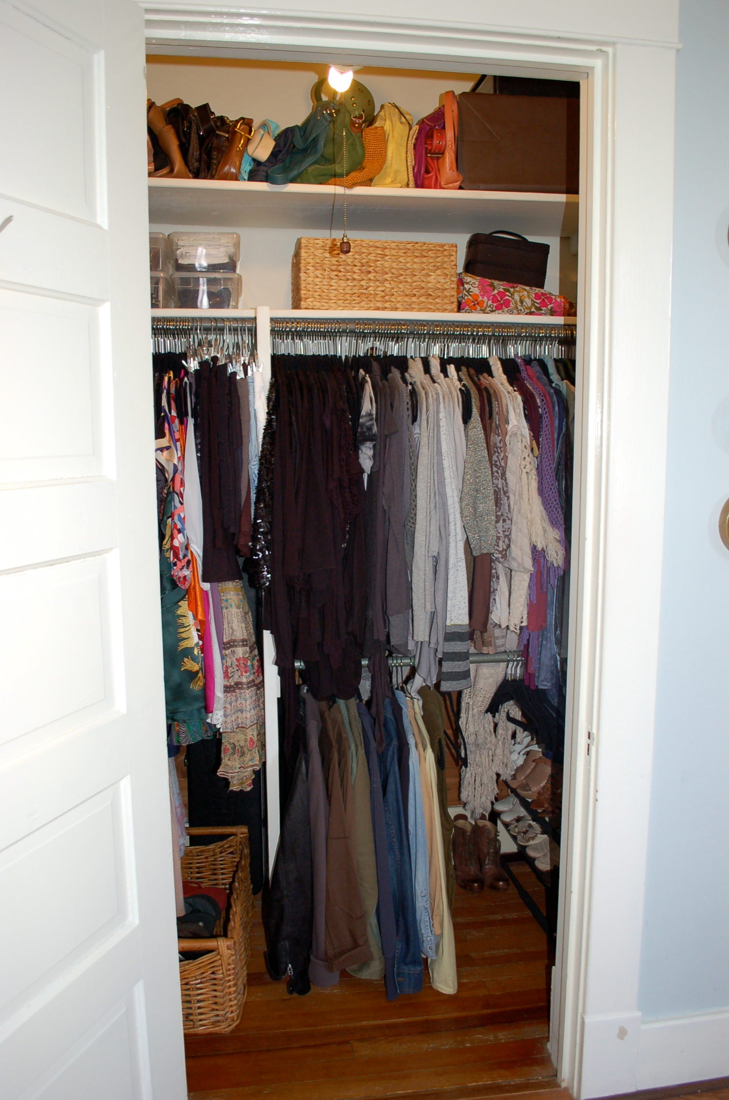 Organized closet, home organization, home, closet, baskets