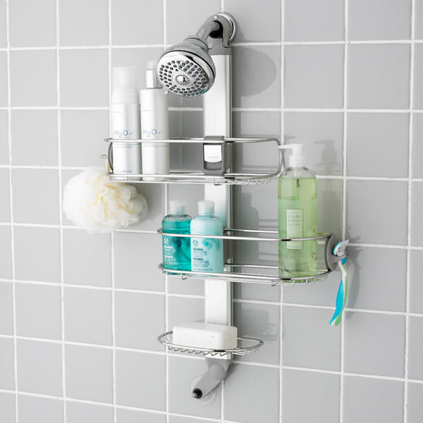 simplehuman shower caddy, the container store, bathroom storage, shower storage, organized bathroom