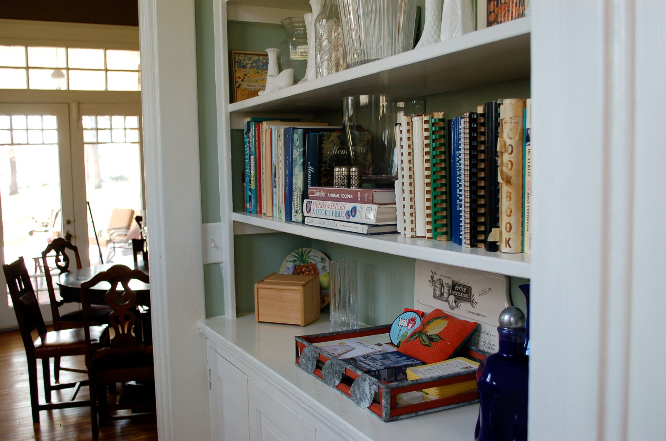 organized shelves, books, neat
