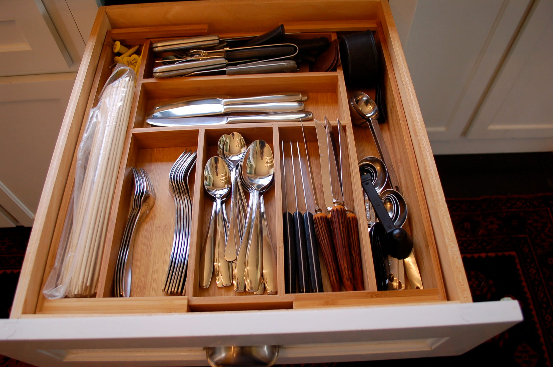 organized, bamboo insert, drawer insert, organized kitchen