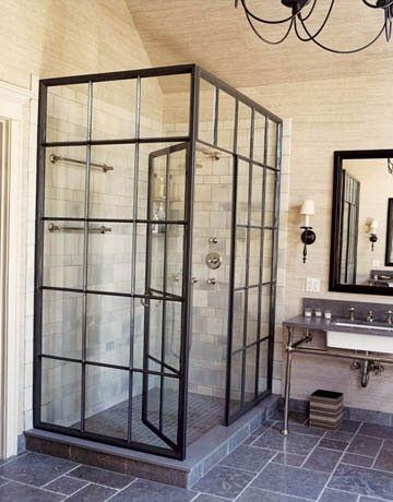 Glass shower, open bathroom, modern bathroom, metal frame