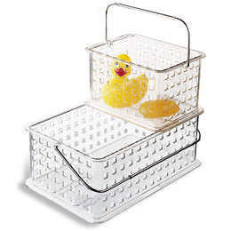 bathroom tub, bathroom organization, plastic bin, acrylic bin, kids bathroom, rubber duck, rubber ducky