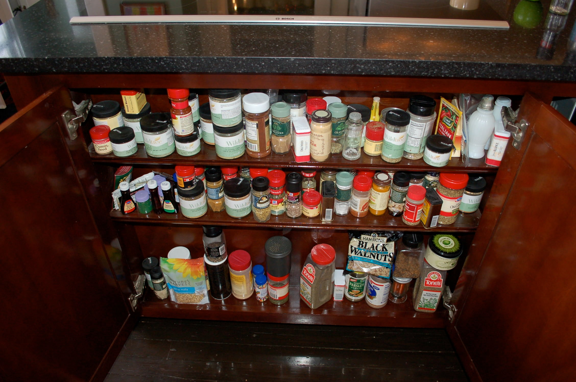 spices, unorganized spices, kitchen cabinet,