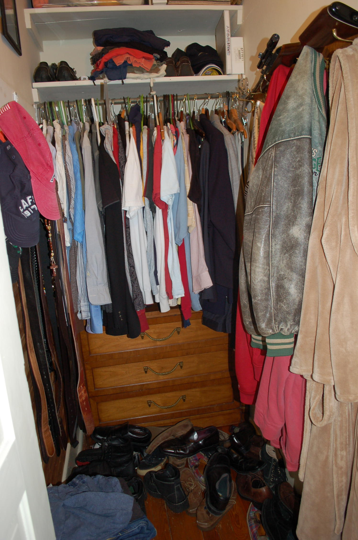 mens closet, messy man, unorganized