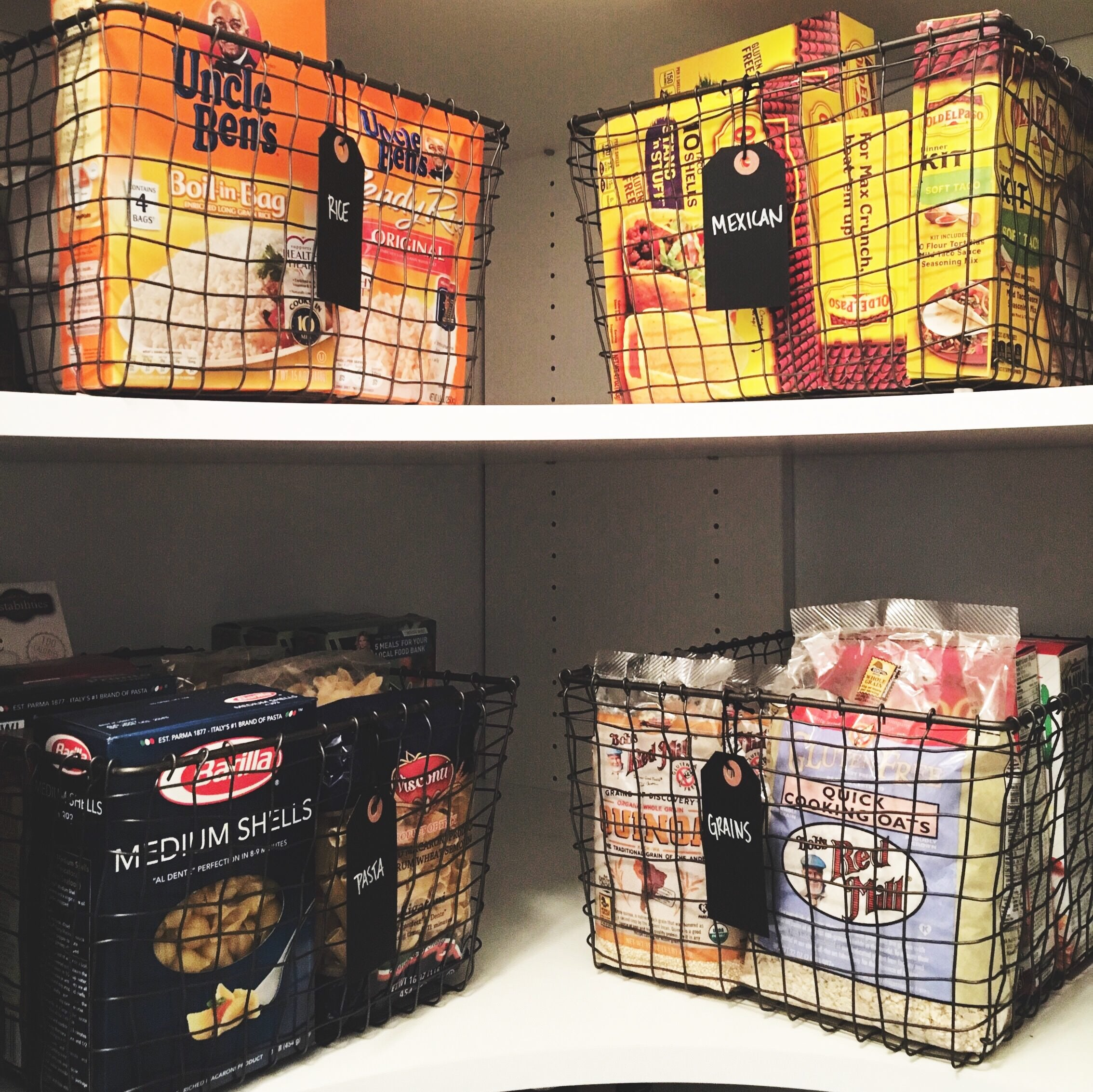 baskets, organizing, neat method, professional organizers, home organizing, wire baskets, beautiful pantries, pantry inspiration