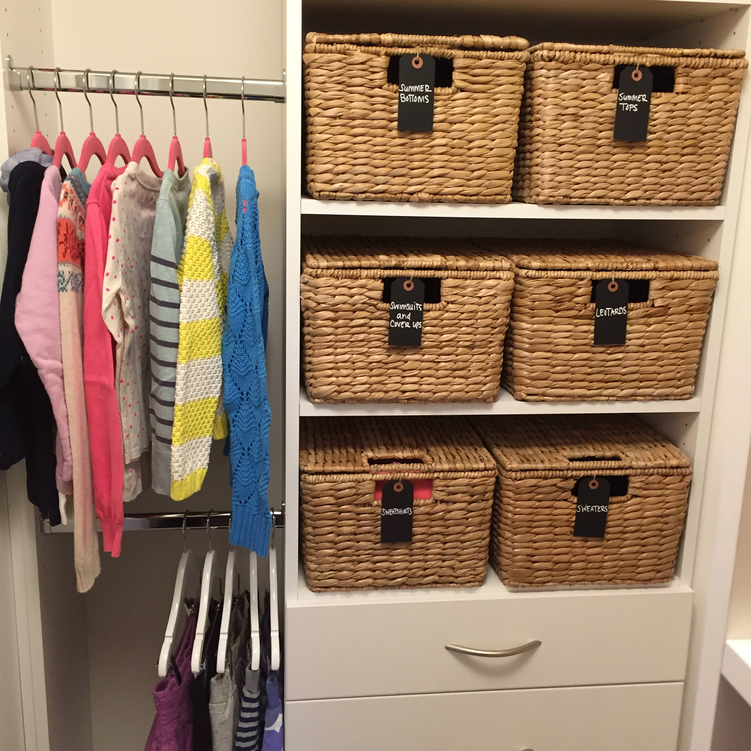 Pottery Barn, Closet, master closet, kids closet, storage, shoe storage, clothing storage, basket, basket with a lid, labeled baskets, home organization, home organizing, professional organizing, home design, home style