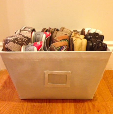 canvas bin, shoe storage, the container store, storage bins, labeled bins