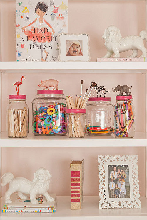 DIY, Children's toys, jars, animals, shelves, girls room