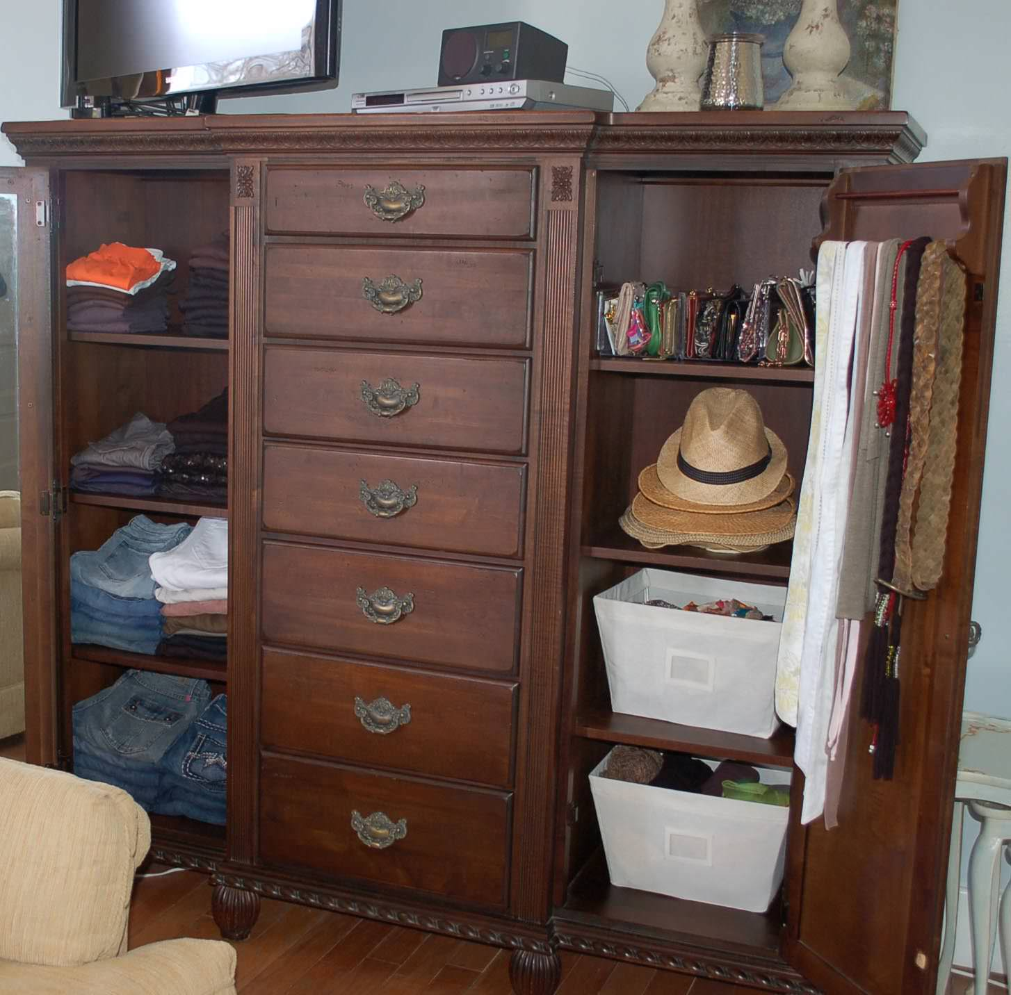 organized dresser, home organized, brown dresser, wooden dresser