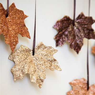 leaves, sparkle, halloween, diy, craft, decor, holiday