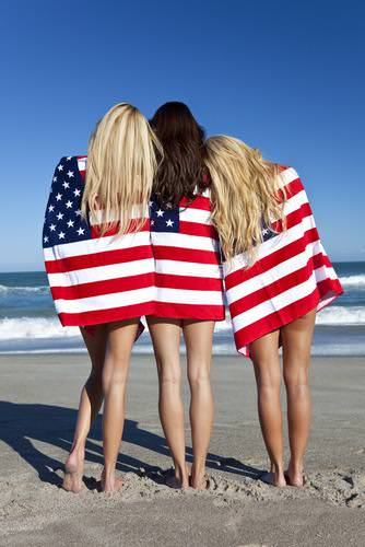 4th of July, Fourth of July, American Flag, Stars and Stripes, American, USA, American pride, American flag girls, girls on beach