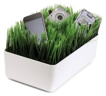Grassy Lawn Charging Station, organizing cords, messy cords, pile of cords, mess of cords, how to organize cords