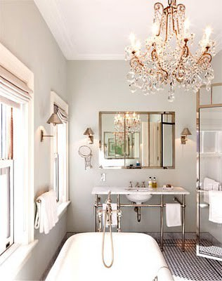 chandelier, bathroom, claw foot tub, beautiful bathroom