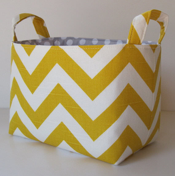 chevron basket, yellow chevron, fabric basket, yellow chevron basket, etsy