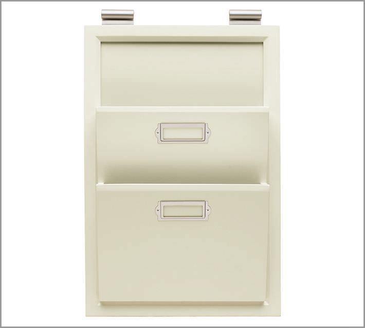 mail organizer, mail sorter, wall mount, filing cabinet, organizing papers, hanging organizer, white bin, white organizer for papers