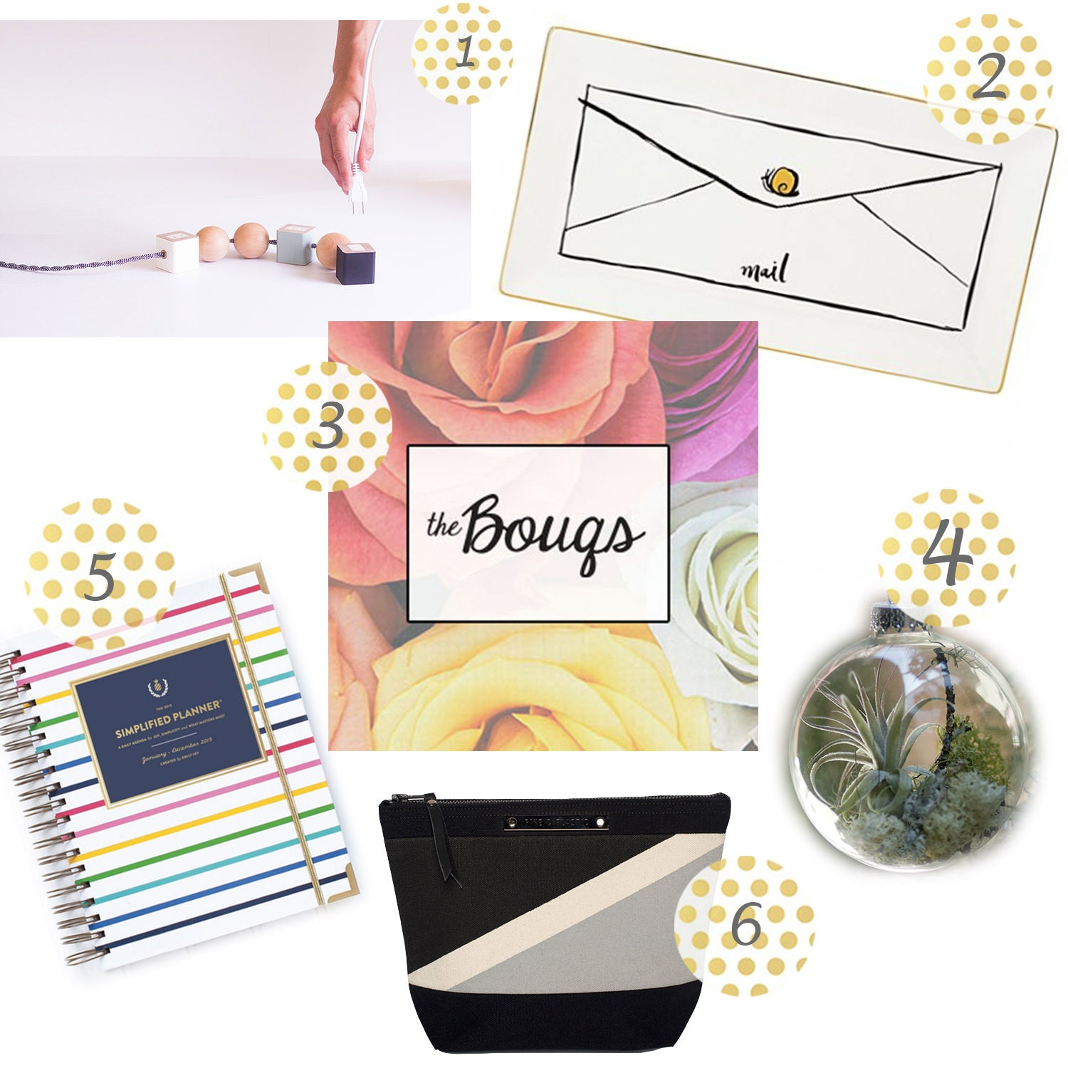 Outlet Block Cords from Okum, Kate Spade Mail Tray, Monthly Flower Shipment, Forest Floor Ornament, 2015 Daily Planner, Passenger Pouch, Pine & Plastic