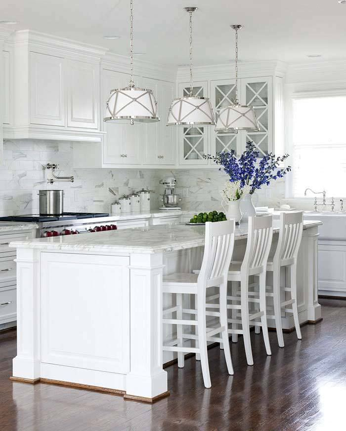 beautiful kitchen, neat method, organized kitchen, lighting, kitchen remodel, white kitchen, marble countertops