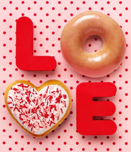 love, krispy kreme, donut, heart donut, valentines day, valentines day decorations, red and pink, sprinkles donuts, donuts with sprinkles, pink and red sprinkles