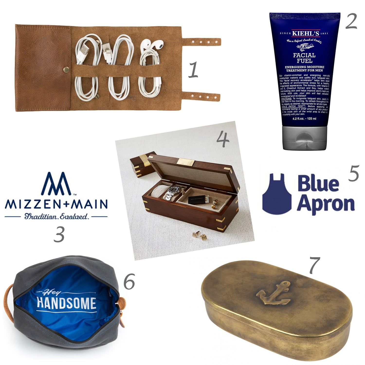 Bandito Organizer, this is ground, Facial Fuel,  Kiehl's lotion, shaving lotion, Mizzen + Main, Wood + Brass Watch Box, West Elm box, Food Delivery + Recipes from Blue Apron, Hey Handsome Shaving Kit Bag, Anchor Box, Jayson Home
