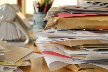messy papers, messy office, messy office desk, messy mail, pile of mail, pile of office papers, messy office