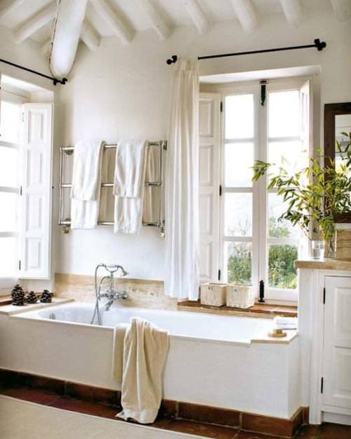 open bathroom, white bathroom, modern bathroom,