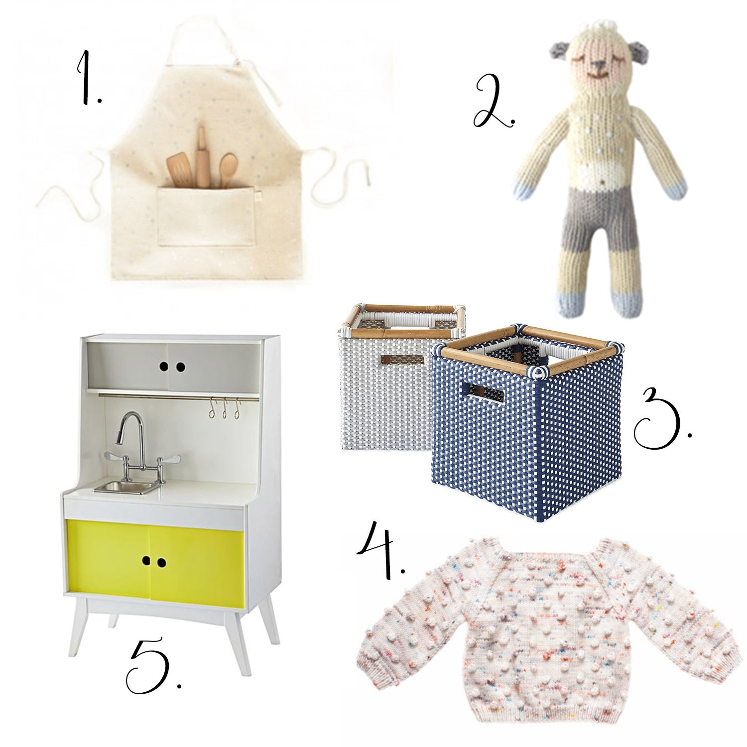 gift ideas for kids, apron for kids, storage cubes, festive sweaters for kids, pottery barn play kitchens, best gifts for kids