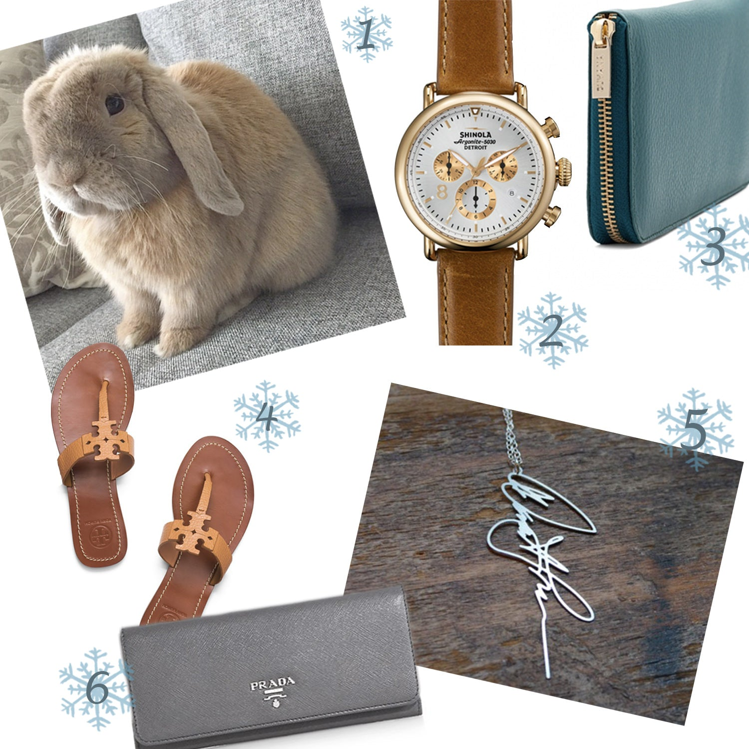 bunny, shinola watch, cuyana wallet, tory burch, tory burch sandals, brevity signature necklace, custom signature necklace, prada, prada wallet, gray prada wallet, gift ideas, gift guide, holiday gift guide 2014, best gift ideas for women