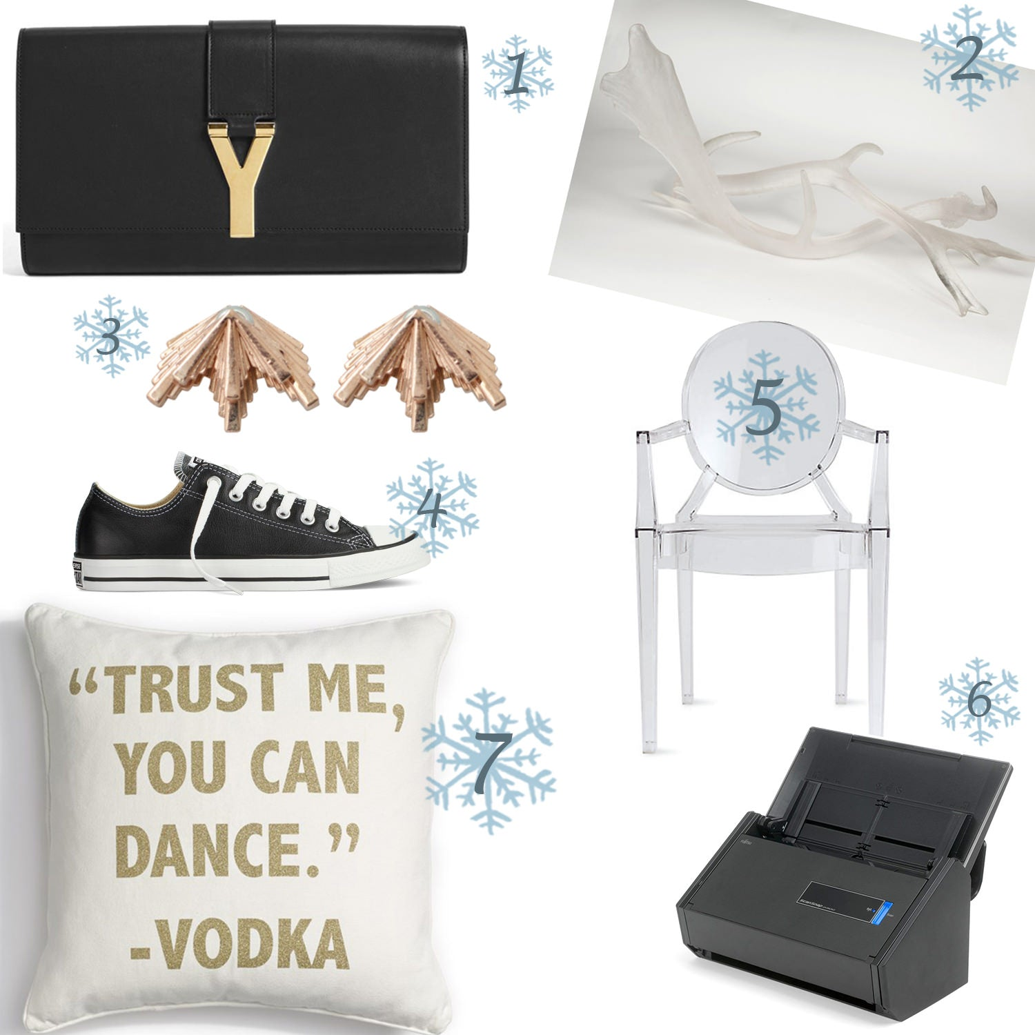 Saint Laurent Y Leather Clutch, Lucite deer antlers, deer antlers, converses, chucks, leather converses, black converses, starburst earrings, gold earrings, lucite chair, design within reach chair, vokda pillow, trust me you can dance vodka, trust me you can dance vodka pillow, printer, scanner, unique gift ideas for women, holiday gift guide 2014, best christmas gift ideas 2014