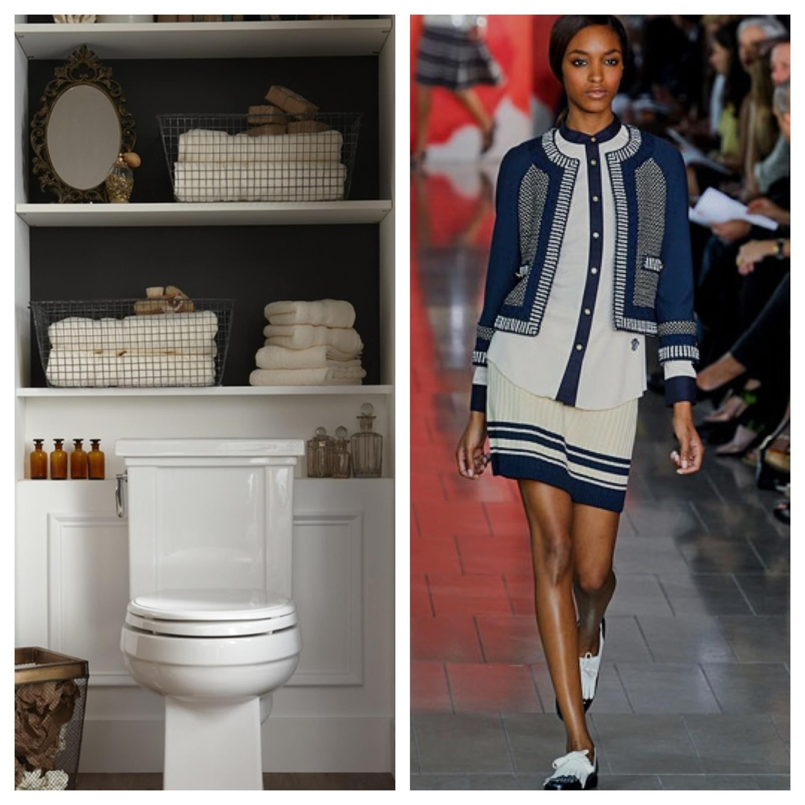 Fashion Week, New York Fashion Week, Model, Runway, Catwalk, skinny girl, pretty girl, bathroom, navy bathroom, white toilet, folded towels