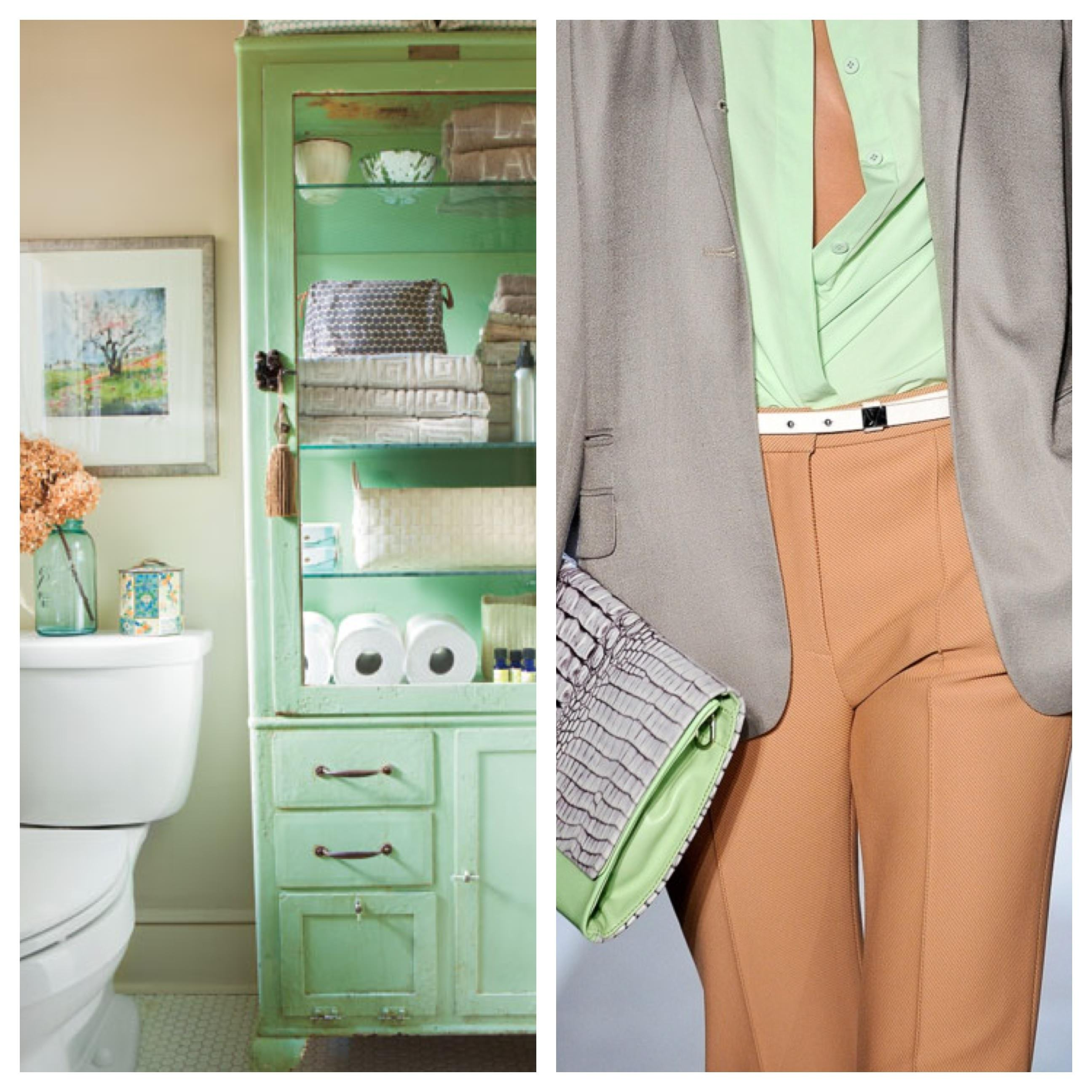 Fashion Week, New York Fashion Week, Model, Runway, Catwalk, skinny girl, pretty girl, white toilet, mint green cabinet, orange pants, mint green top, modern clutch, grey clutch