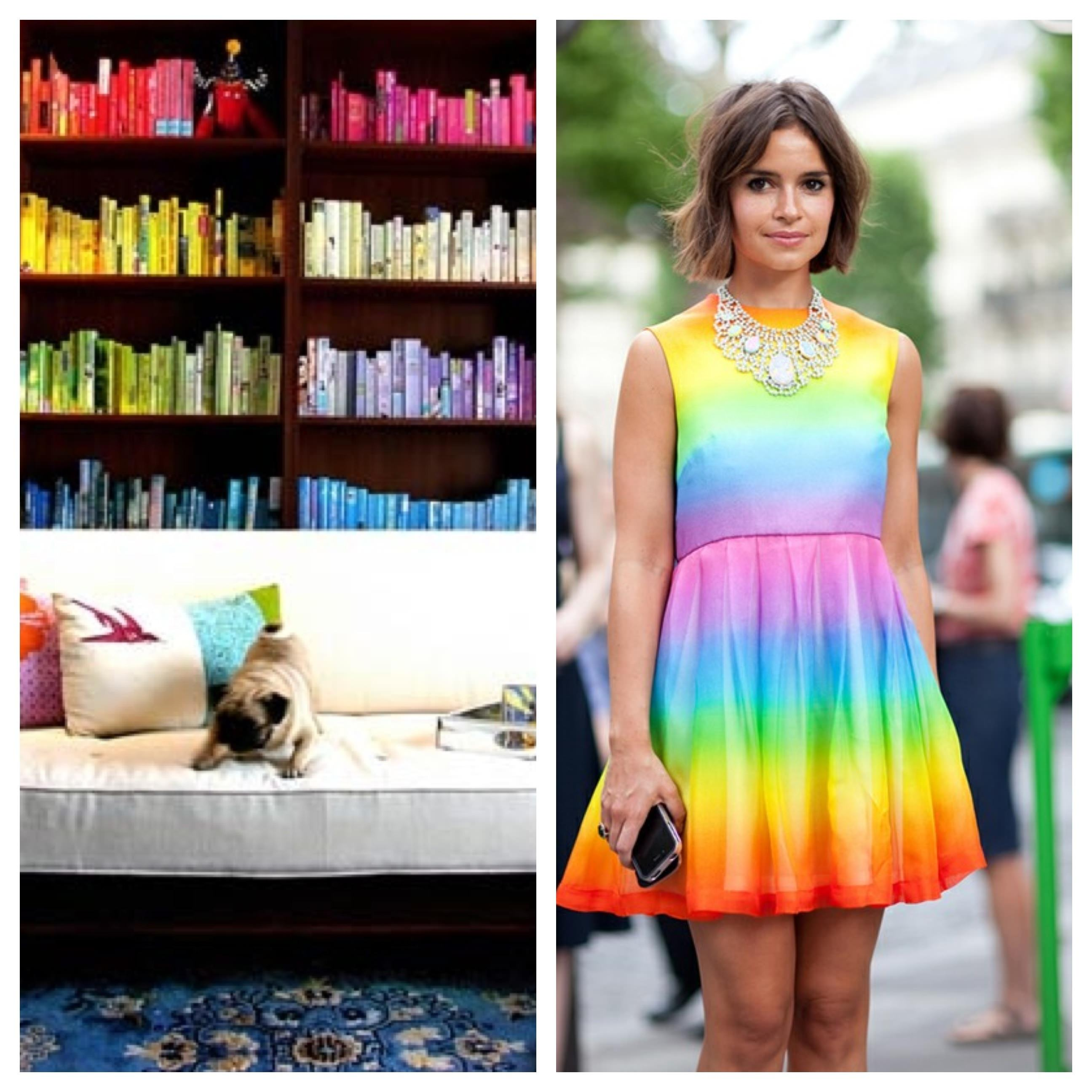Fashion Week, New York Fashion Week, Model, Runway, Catwalk, skinny girl, pretty girl, rainbow, rainbow books, rainbow dress, colorful room, colorful dress, white couch, modern home