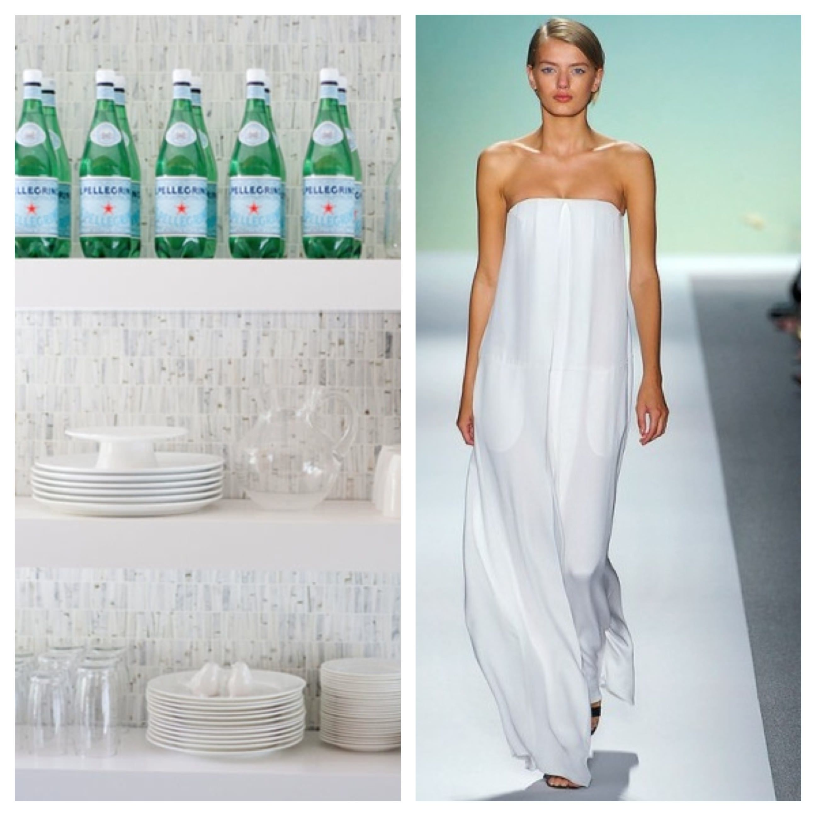 Fashion Week, New York Fashion Week, Model, Runway, Catwalk, skinny girl, pretty girl, organized kitchen, white plates, pellegrino