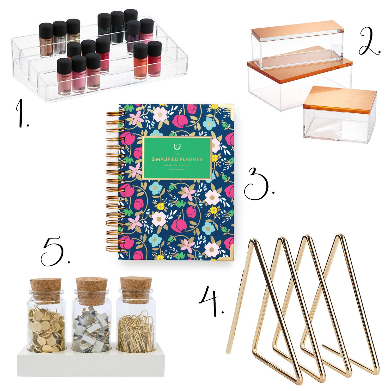 container store, acrylic nail polish organizer, copper containers, cool storage boxes, unique day planners, modern office storage, spice jars, kitchen organization, cb2, target, emily ley, organizing products, neat ideas for the organized person, 2016 best organizing products