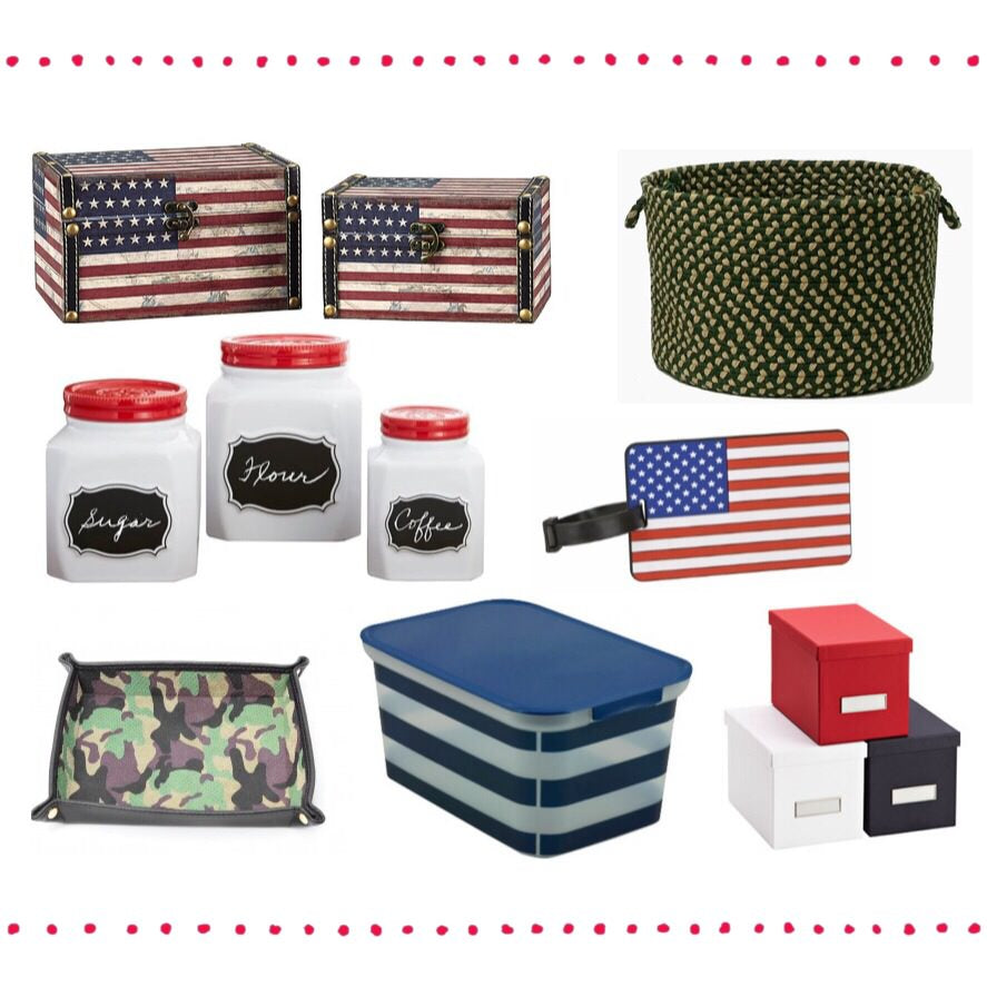 veterans day, veteran's day, red white and blue bins, red white and blue boxes, american flag boxes, american flag, american flag decor, camo bin, camo tray, camo basket, ceramic canisters, ceramic canisters with red lids, chalkboard labeled canisters, american flag luggage tag, usa luggage tag, blue striped plastic bin