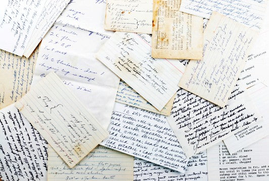 recipe card pile, pile of papers, mess of recipes, kitchen mess, messy kitchen, organizing tips