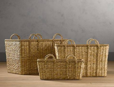 wicker basket, restoration hardware, seagrass basket, basket, basket for home, brown basket, tan basket, organizing tips, organized bathroom