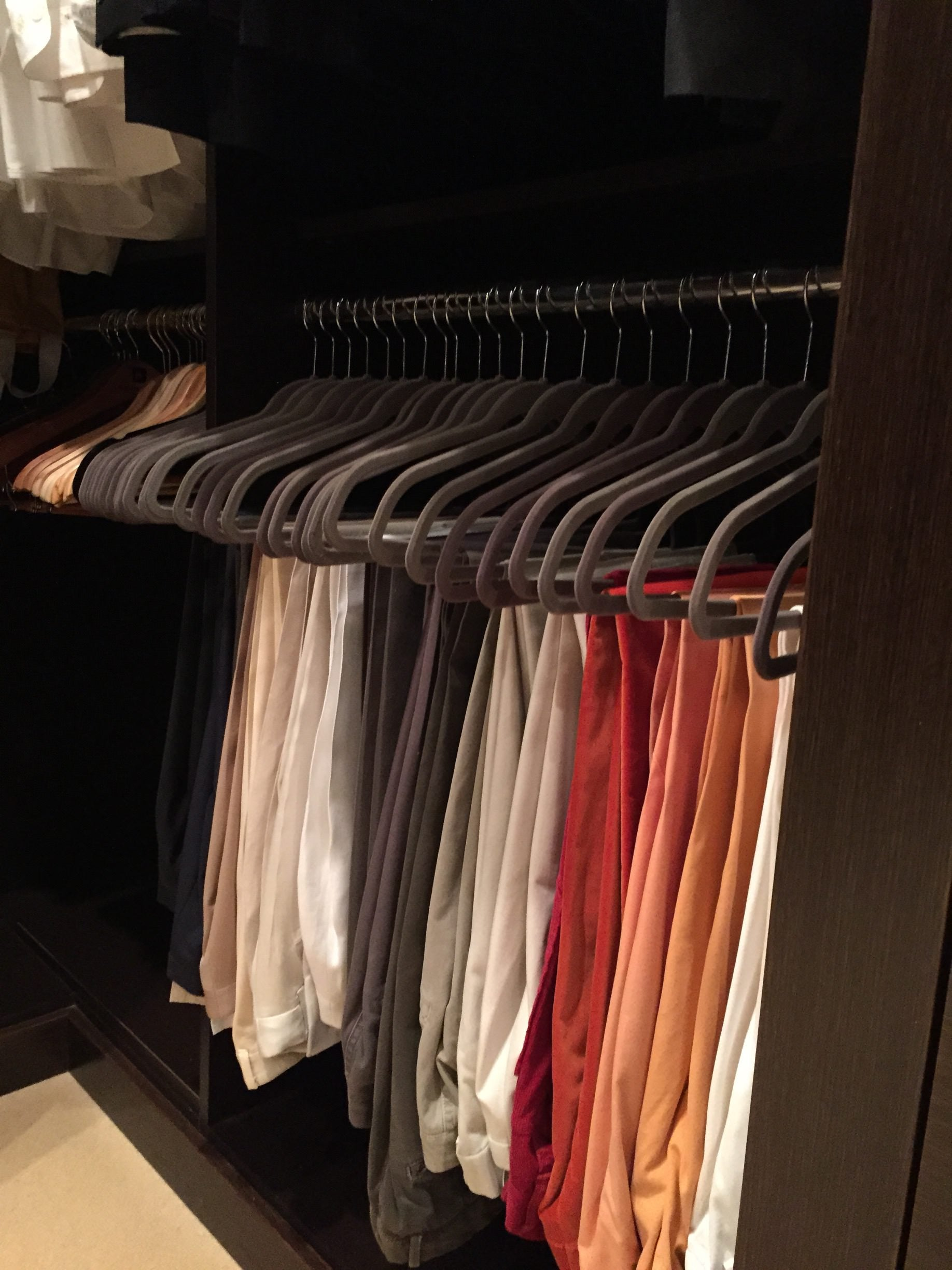 neat method, organizing, professional organizing, home organization, home style, budget, DIY, home decor, style, california closets, closet, master closet, container store, ROY G BIV, Color coded, pants, luxury, luxury home