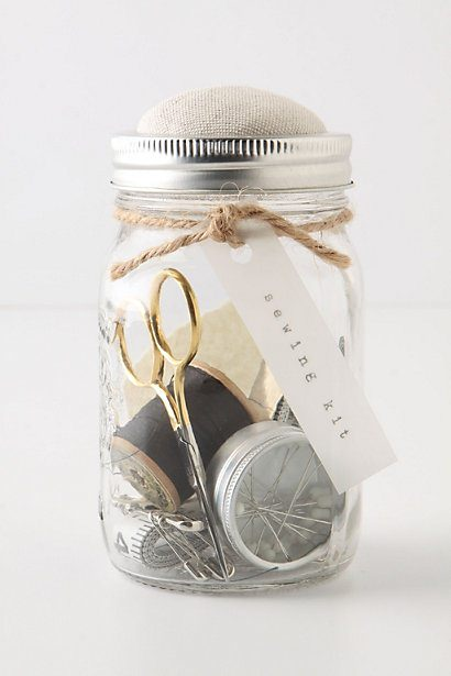 simple jar, glass jar, sewing kit
