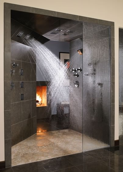 waterfall shower, awesome shower, sexy shower, fireplace in shower