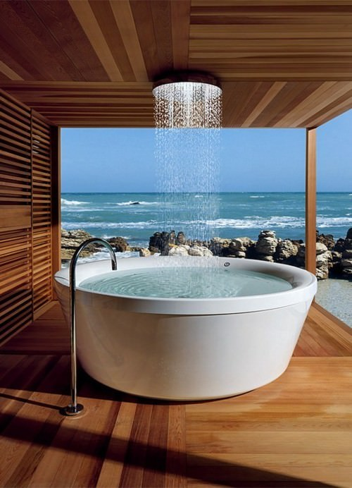 Modern Bathroom, Ocean view, Bathroom with a view, round tub