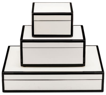 white box, lille stacking boxes, white and black boxes, modern home decor, home organization, stacking boxes