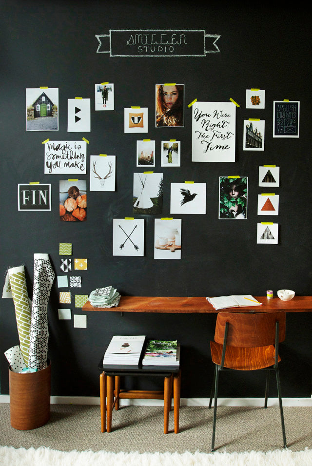 Sarah Sherman Samuel, Smitten Studio, chalkboard wall, diy inspiration board, diy chalkboard, chalkboard, home office decor