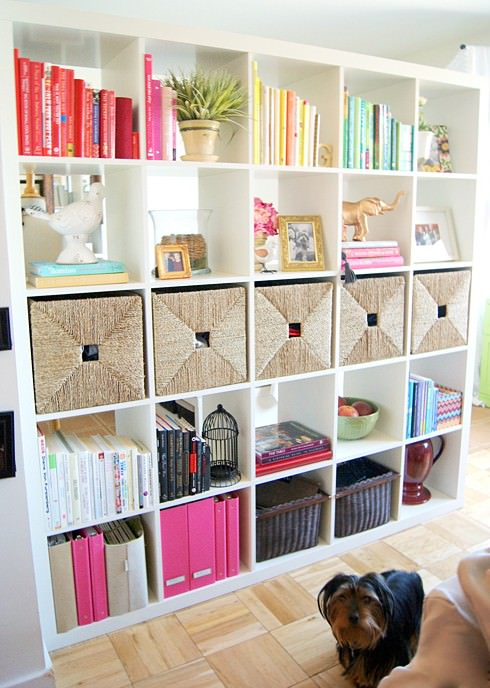 organized shelves, baskets, matching baskets