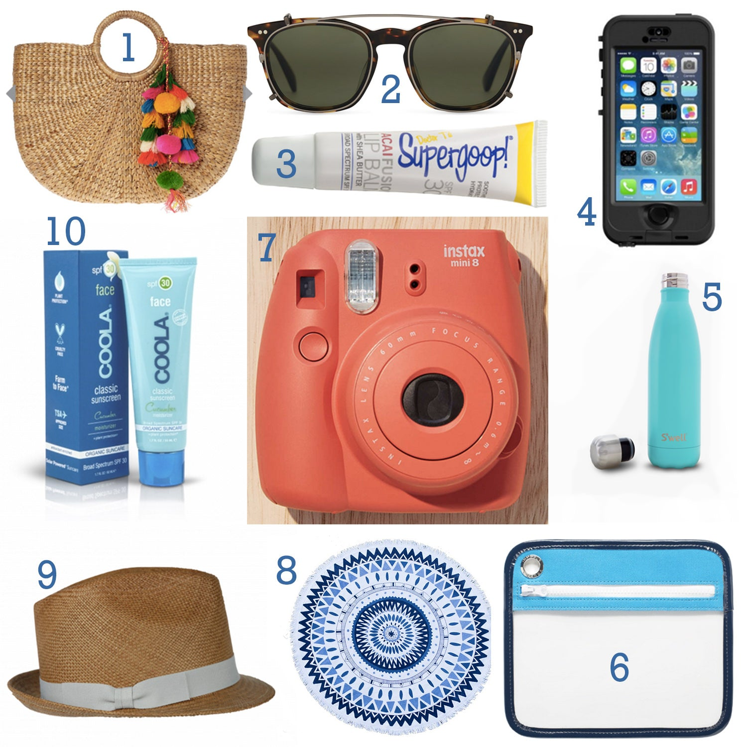 Everything but water, hat attack, Coola sunscreen, The Beach People, Polaroid Camera, Urban Outfitters, LifeProof Phone case, iPhone case, TOMS, TOMS sunglasses, sunglasses, One Truffle S'well, Lip balm, water bottle, chap stick, lip gloss, SPF, Beach