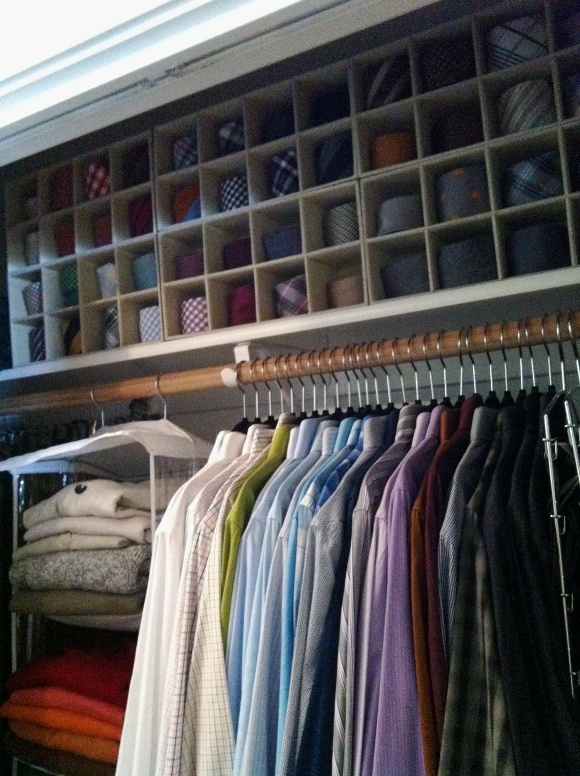 tie storage, tie organizing, men's closet, the container store, beautiful closets