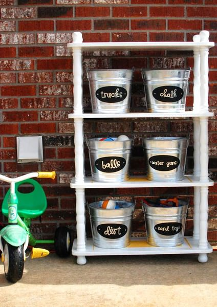 Garage, garage organizers, buckets, labeled buckets, organized, DIY, pinterest