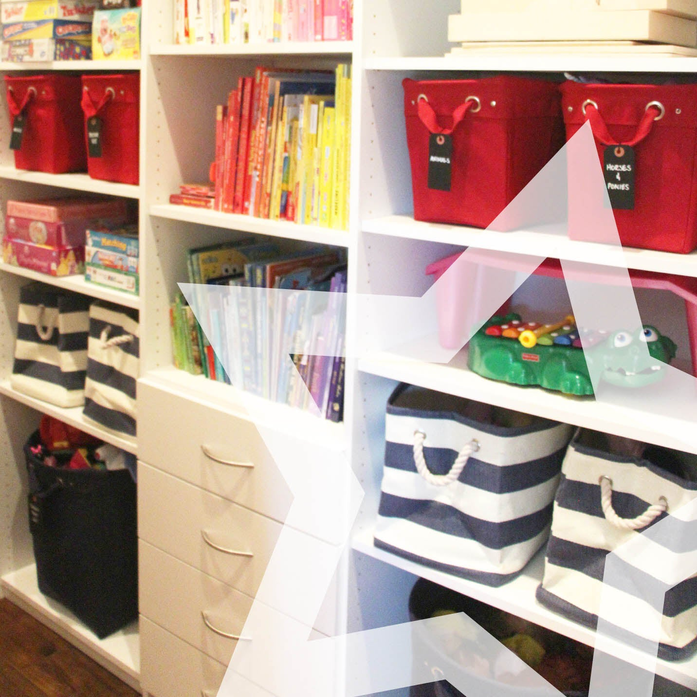 Container Store Striped Storage Baskets