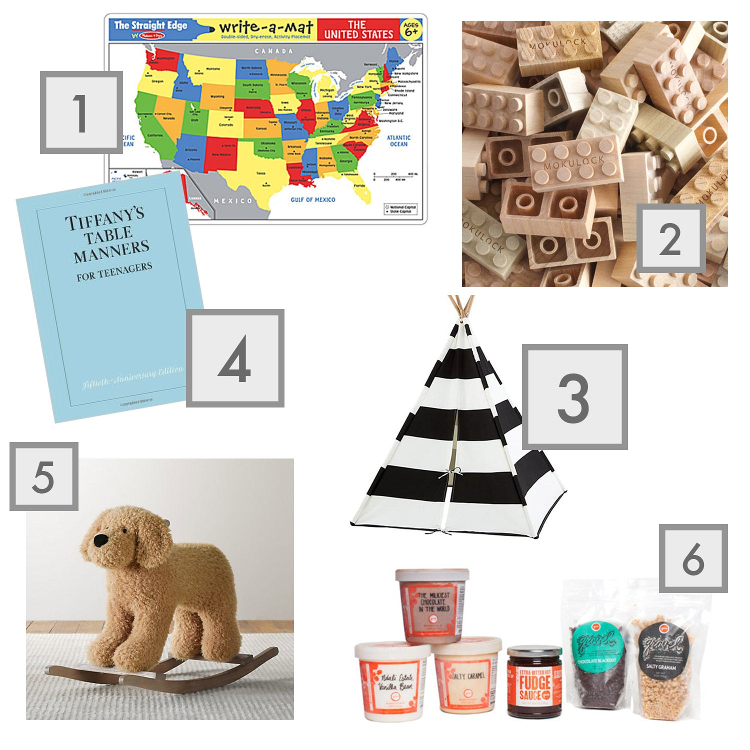 State Map Placemats, Melissa & Doug, Wooden Legos, Mokulock, A Teepee to Call Your Own, Teepee, The Land of Nod, Table Manners for Teenagers, Table Manners book, Tiffany's, Plush Animal Rocker, Restoration Hardware kids toys,  Build Your Own Sundae Kit, Jeni's icecream