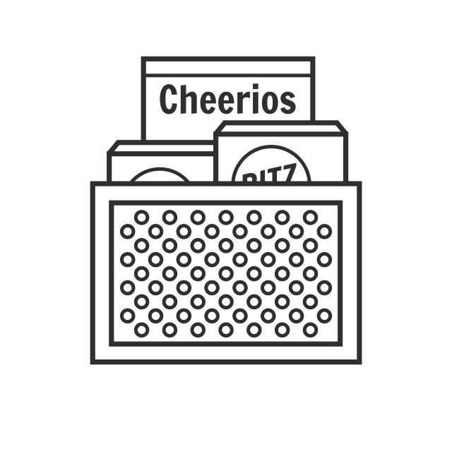 Storingboxes of cereal or crackers